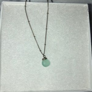 Sterling Silver Necklace with Aqua Stone Pendant